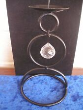 """Black Metal Candle Holder with Dangling, Round Carved Glass """"Crystal"""""""