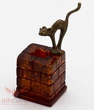 Solid Brass Amber Figurine of Cat on a Chimney IronWork