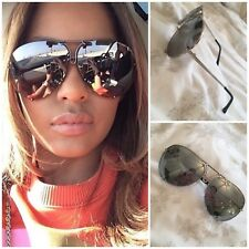 Silver Aviator Mirrored Sunglasses Oversized Reflective Huge Luxury Flat Top