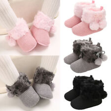 Newborn Baby Girl Fur Lined Boots Crib Pram Shoes Warm Winter Snow Booties 0-18M