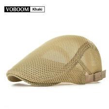 Men's Khaki Breathable mesh Beret Summer hat Newsboy Ivy Cap Cabbie Flat Caps