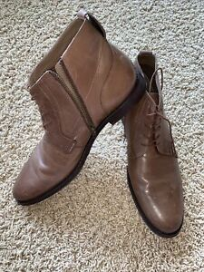 Hush Puppies Brown Leather Zip Up Conner Ploy Dress Ankle Boots Shoes Mens 9 EUC