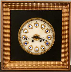 Antique 1850s Wall Clock Gold Gilt Ripple Fame, Alabaster Face & Enamel Numbers