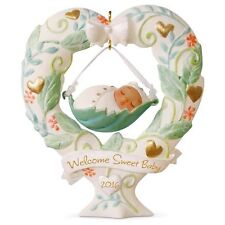 Hallmark 2016  Baby's First Christmas Welcome Sweet Baby Ornament AA