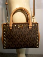 Michael Kors Kellen Brown MK Signature Stud XS Crossbody Shoulder Satchel Bag