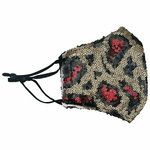 Animal Print Sequin Glitter Fabric Shiny Bling Leopard Face Mask Washable