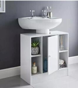 White Under Sink Bathroom Storage Cabinet Cupboard Vanity Unit with (4 Shelves)