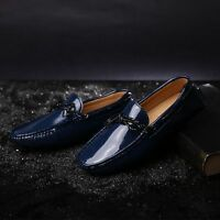 Fulinken Men Navy blue   black patent leather slip on loafers Moccasin shoes 1400dbc4e51