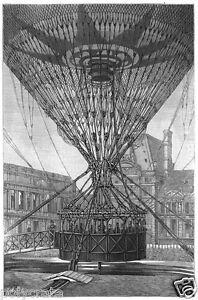 Reproduction gravure Ballon Captif montgolfière Paris Cour des Tuileries 1878