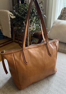 FOSSIL SYDNEY Cognac Brown Textured Leather Tote Shopper Transport Bag AWESOME