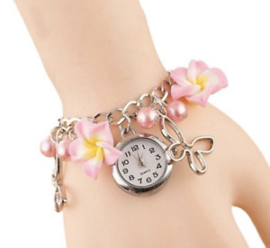 Pink Frangipani Charms Faux Pearl Pendant Bracelet Quartz Wrist Bangle Watch