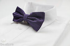 MENS PURPLE BLACK BOW TIE Pretied Adjustable Fashion Accessory Formal Wedding