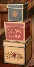 Primitive Country Living Nesting Boxes Heart Star Vines Rustic Farmhouse Decor