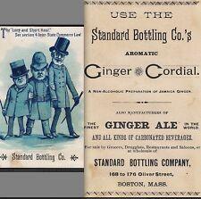 Standard Bottling Jamaica Ginger Ale Cordial Boston bottle train soda Trade Card
