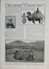 1902 PRINT EXPLORER OF UNKNOWN TIBET DR SVEN HEDIN BACTRIAN CAMEL DOUBLE HUMP
