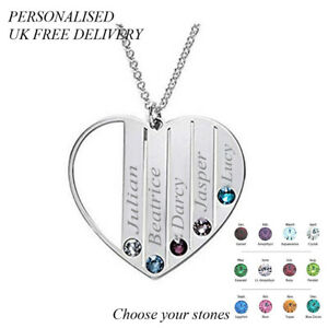 Personalised Heart 5 Birthstone Womens Name Necklace Silver Jewellery Gift UK
