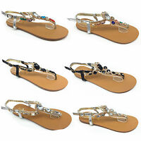 Girls and LADIES TOE BOW DIAMANTE SUMMER FLAT FLIP FLOP FLOWER SANDALS SIZE