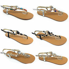 Girls and Ladies Toe Bow Diamante Summer Flat Flip Flop Flower Sandals Size Dl55 White UK 3