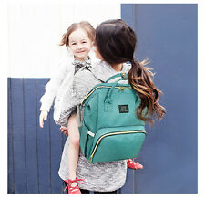 Green Waterproof Mummy Bag Baby Diaper Nappy Bottle Holder Backpack Changing Bag