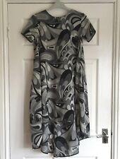 Ladies Chiffon Dress/Top. Retro Grey Black White No labels.Long circle tail Back