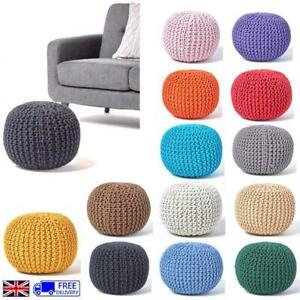 100% Cotton Round Knitted Pouffe Small Medium Large Chunky Cushion FootStool