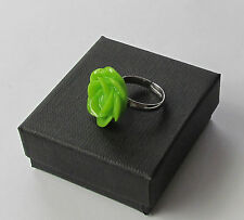 Handmade Unusual Pretty Lime Green Rose Flower Gift Boxed Fashion Charm Ring
