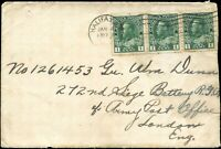 Cover Canada 1917(?) HALIFAX, NS-ARMY LONDON,ENGLAND - 3x1c Scott #104a stamps