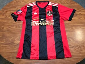 MENS USED ADIDAS 2017 ATLANTA FC INAGURIAL MLS RED SOCCER JERSEY SIZE LARGE