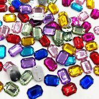 100pc Mix Square Rhinestones Flat Back Acrylic Gems Crystal Stones Sewing Beads