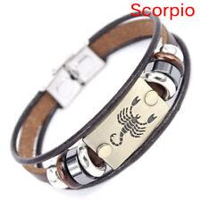 Stainless Steel Clasp Leather Bracelet 12 Zodiac Signs Bracelet Men Jewelry RA Leo