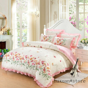 Floral Duvet Cover Flowers Printed Cotton Quilte Comforter Cover Bed Bedding Set
