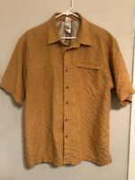 The North Face Mens L Short Sleeve Button Up Cotton plaid Shirt Orange Yellow