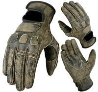NEW BGA MOTORCYCLE CRUISER ROADSTER DISTRESSED COW ANILINE SKIN LEATHER GLOVES