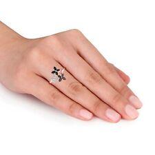 Goldenstar 0.25Ct. Black, Brown & White Diamond Butterfly Ring