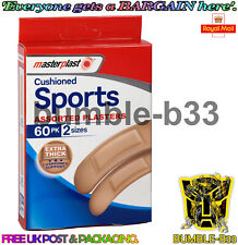 60pk Masterplast Cushioned Sports Plasters 2 Variable Sizes Extra Thick