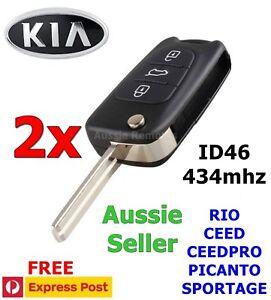 2x Kia Rio Ceed CeedPro Picanto Sportage 3 Button Remote 433mhz w/ ID46 Chip
