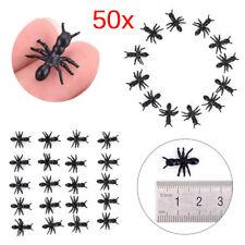 50Pcs/Lot Halloween Plastic Black Ants Joking Toys Decoration Realistic Funny UK