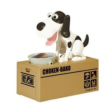 My Puppy Dog Electronic Coin Piggy Bank Eats & Saves Money Box White & Black New