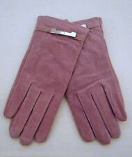 Women's Leather Gloves Velours Pink Size L New