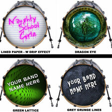 "Custom 22"" Bass Drum Head Decals Skin Wrap Kick Sticker Vinyl Double FREE DESIGN"