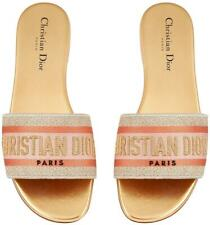 Christian Dior Dway Platinum Gold Embroidered Logo Slide Mule Flat Sandal 38