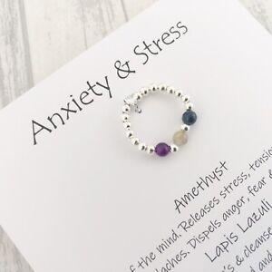 Sterling Silver Depression Stress Anxiety Ring Stretch Gemstone Healing Crystal
