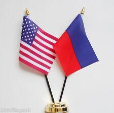 United States of America & Haiti Federal Double Friendship Table Flag Set