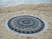Indian Roundie Round Elephant Mandala Hippie Tapestry Beach Throw Yoga Mat Boho