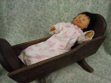 """den-331 Dianne Dengel Ooak doll; """"Cradle Baby"""" 14"""" w/cradle"""