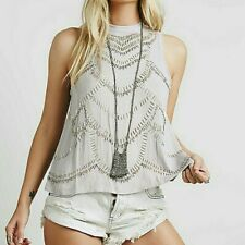 Free People Ferris Wheel Open Back Top Beaded Sequin Embellished Blouse XS NEW
