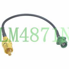 "Fakra E 6002 Green plug to RCA TV male Car reverse camera radio video 6"" cable"