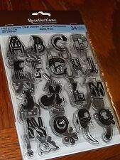 RECOLLECTIONS ACRYLIC STAMPS ALPHA WEST ALPHABET ~ LETTERS, PUNC.  wks CTMH blk