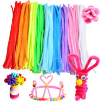 100PCS Chenille Craft Stems Pipe Cleaners Twisting Rods Kids DIY Many Colors