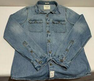 VTG Abercrombie & Fitch Blue Denim Cotton L/S Muscle Button Jean Shirt Men's M